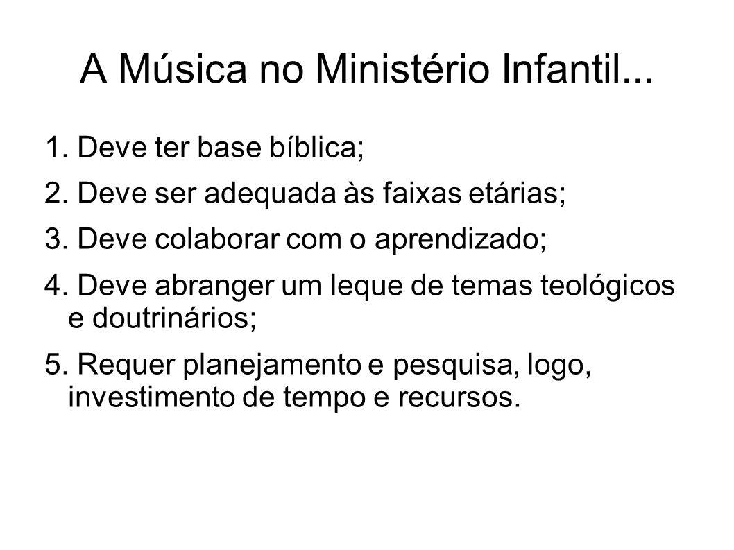 A Música no Ministério Infantil... 1. Deve ter base bíblica; 2. Deve ser adequada às faixas etárias; 3. Deve colaborar com o aprendizado; 4. Deve abra
