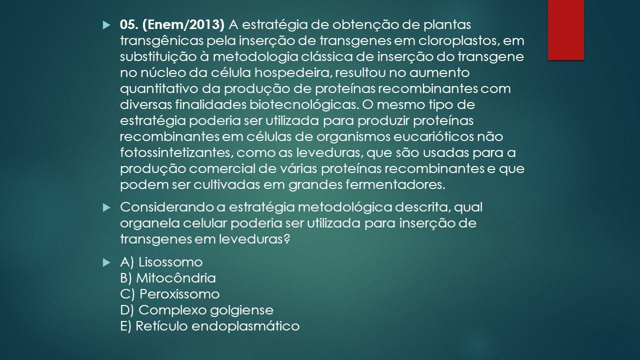  05. (Enem/2013) A estratégia de obtenção de plantas transgênicas pela inserção de transgenes em cloroplastos, em substituição à metodologia clássica