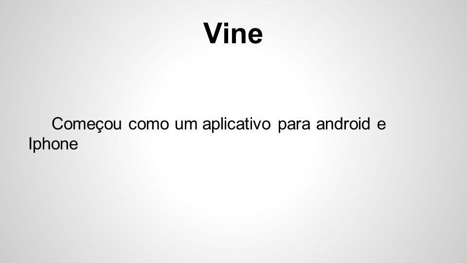 Vine Começou como um aplicativo para android e Iphone