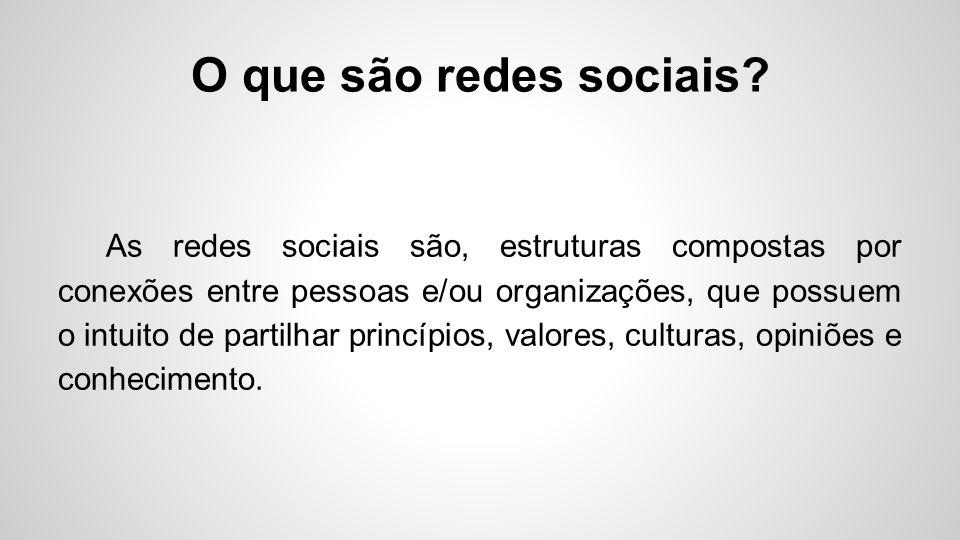 O que são redes sociais? As redes sociais são, estruturas compostas por conexões entre pessoas e/ou organizações, que possuem o intuito de partilhar p