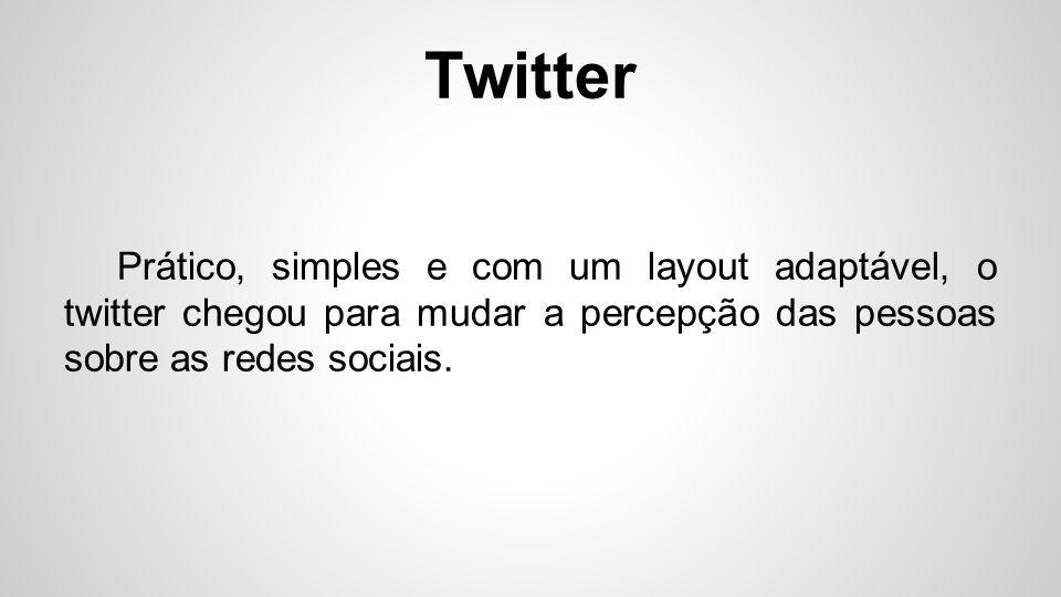 Twitter Prático, simples e com um layout adaptável, o twitter chegou para mudar a percepção das pessoas sobre as redes sociais.