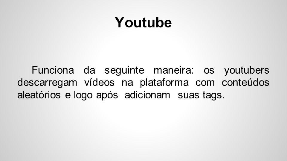Youtube Funciona da seguinte maneira: os youtubers descarregam vídeos na plataforma com conteúdos aleatórios e logo após adicionam suas tags.