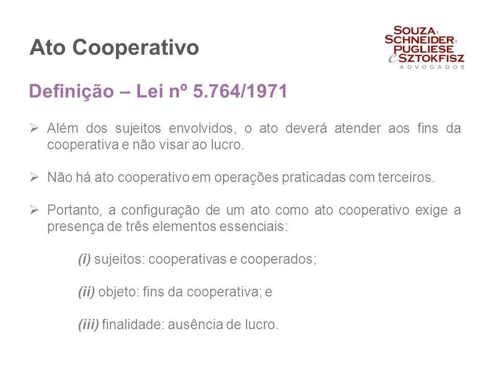 Ato Cooperativo  Além dos sujeitos envolvidos, o ato deverá atender aos fins da cooperativa e não visar ao lucro.  Não há ato cooperativo em operaçõ