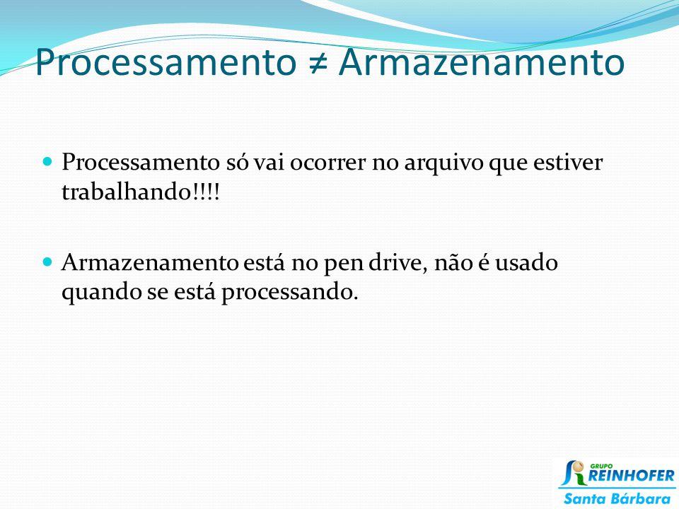 Processamento ≠ Armazenamento Processamento só vai ocorrer no arquivo que estiver trabalhando!!!.