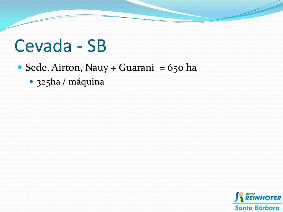 Cevada - SB Sede, Airton, Nauy + Guarani = 650 ha 325ha / máquina