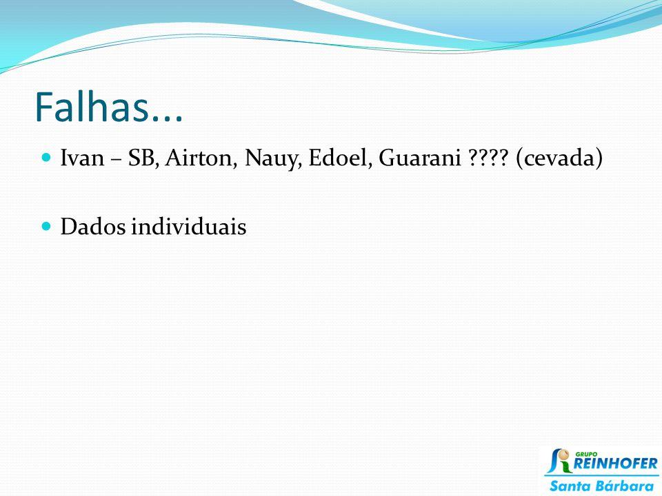 Falhas... Ivan – SB, Airton, Nauy, Edoel, Guarani ???? (cevada) Dados individuais