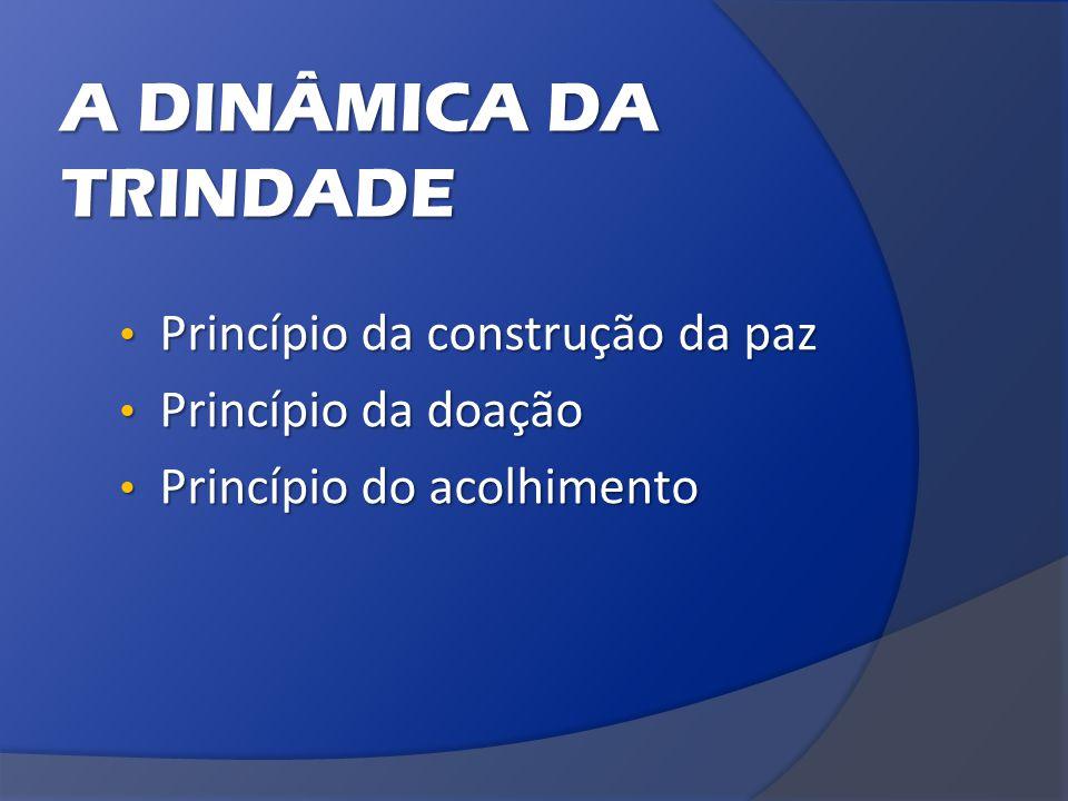 A DINÂMICA DA TRINDADE Princípio da construção da paz Princípio da construção da paz Princípio da doação Princípio da doação Princípio do acolhimento Princípio do acolhimento