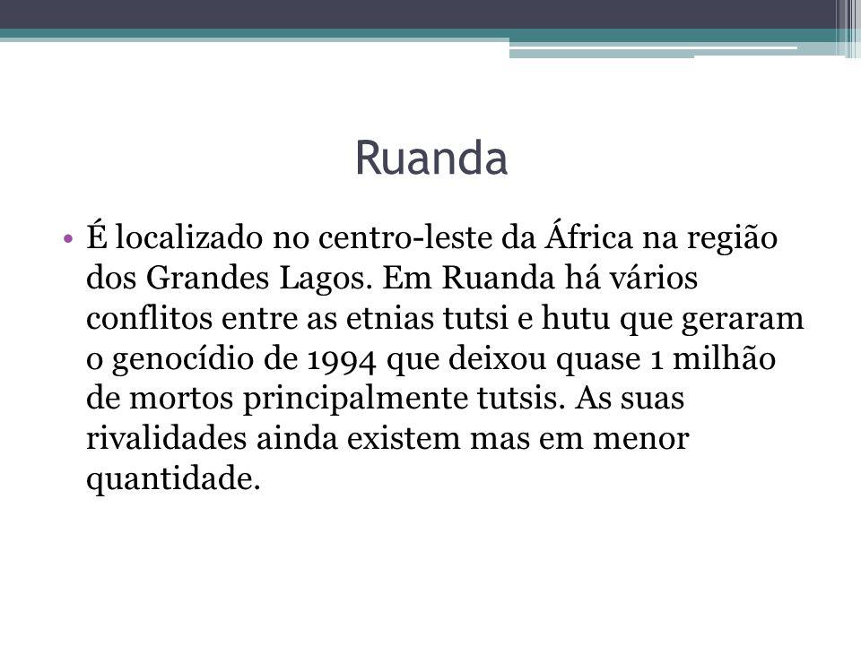 Ruanda É localizado no centro-leste da África na região dos Grandes Lagos. Em Ruanda há vários conflitos entre as etnias tutsi e hutu que geraram o ge