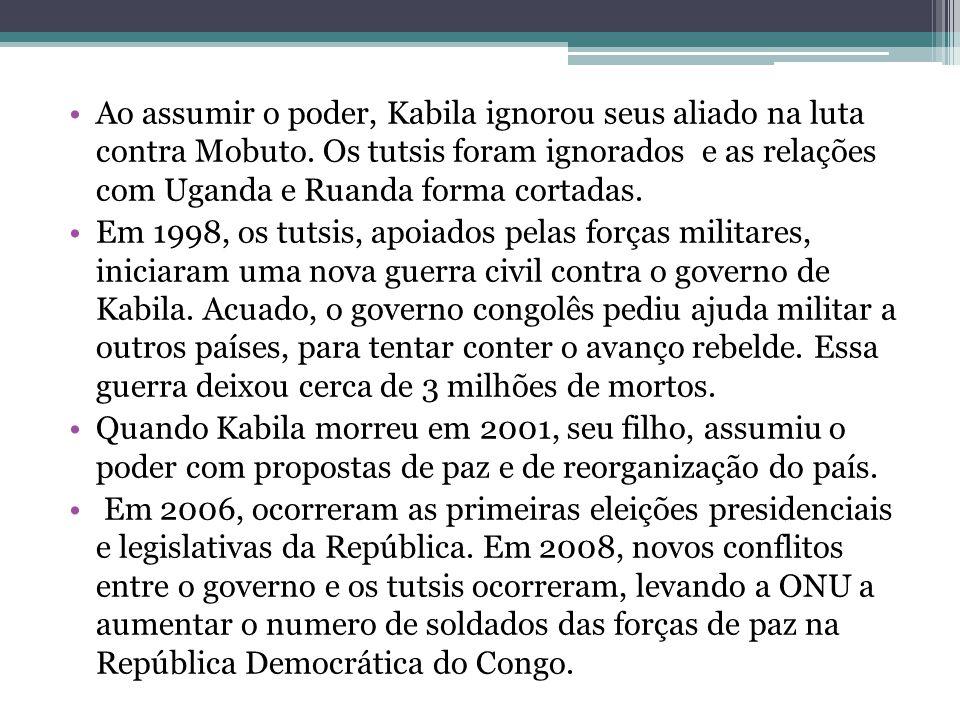Ao assumir o poder, Kabila ignorou seus aliado na luta contra Mobuto. Os tutsis foram ignorados e as relações com Uganda e Ruanda forma cortadas. Em 1