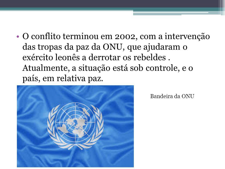 O conflito terminou em 2002, com a intervenção das tropas da paz da ONU, que ajudaram o exército leonês a derrotar os rebeldes. Atualmente, a situação