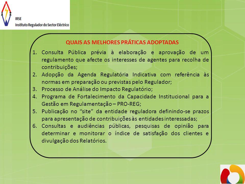 QUAIS AS MELHORES PRÁTICAS ADOPTADAS 1.Consulta Pública prévia à elaboração e aprovação de um regulamento que afecte os interesses de agentes para rec