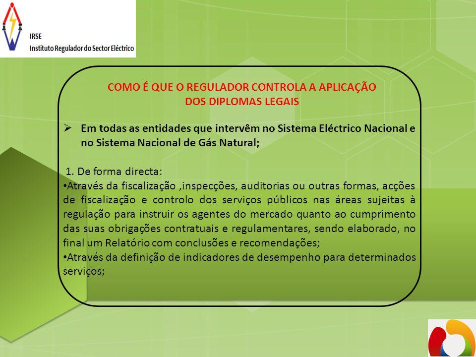 COMO É QUE O REGULADOR CONTROLA A APLICAÇÃO DOS DIPLOMAS LEGAIS  Em todas as entidades que intervêm no Sistema Eléctrico Nacional e no Sistema Nacion