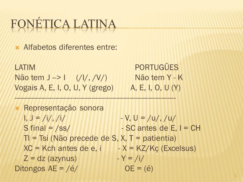  Alfabetos diferentes entre: LATIM PORTUGÛES Não tem J --> I (/I/, /V/) Não tem Y - K Vogais A, E, I, O, U, Y (grego) A, E, I, O, U (Y) -----------------------------------------------------------------------------  Representação sonora - I, J = /i/, /i/ - V, U = /u/, /u/ - S final = /ss/ - SC antes de E, I = CH - TI = Tsi (Não precede de S, X, T = patientia) - XC = Kch antes de e, i - X = KZ/Kç (Excelsus) - Z = dz (azynus) - Y = /i/ Ditongos AE = /é/ OE = (é) 3