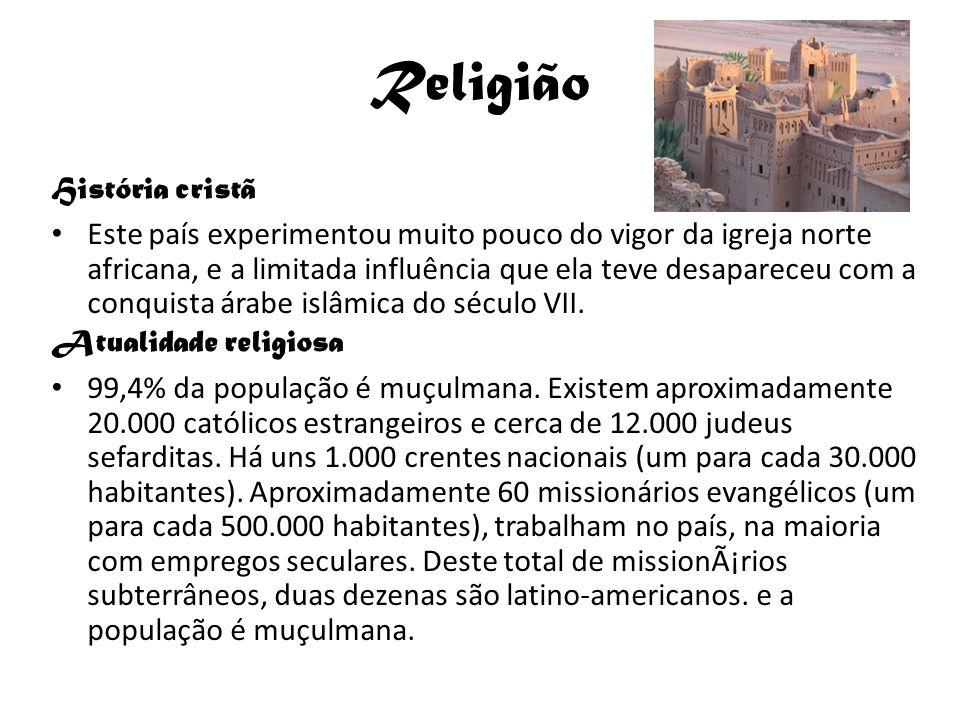 Religião História cristã Este país experimentou muito pouco do vigor da igreja norte africana, e a limitada influência que ela teve desapareceu com a