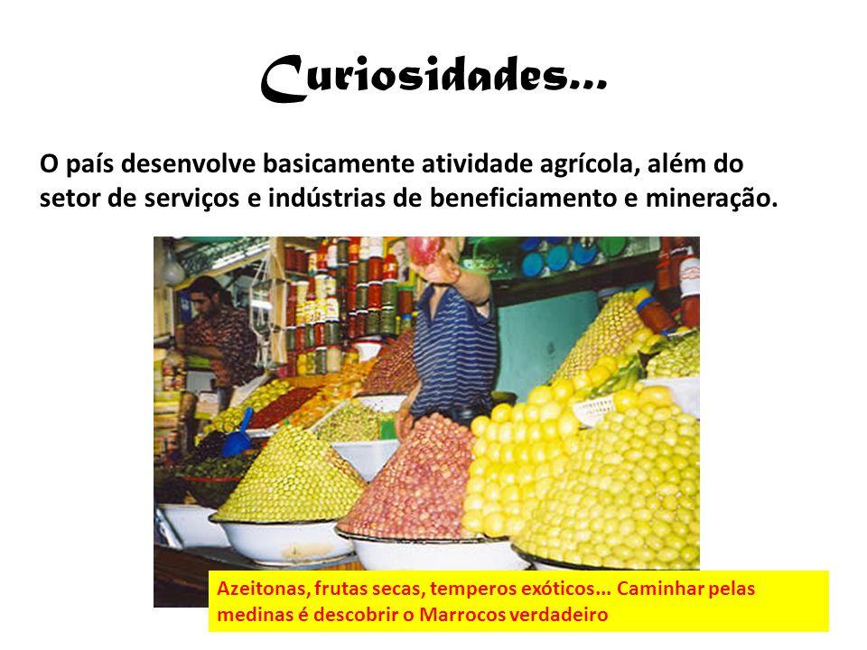 Curiosidades... O país desenvolve basicamente atividade agrícola, além do setor de serviços e indústrias de beneficiamento e mineração. Azeitonas, fru