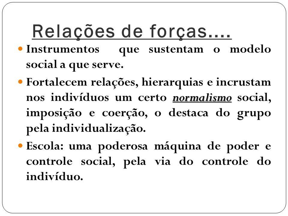 Relações de forças.... Instrumentos que sustentam o modelo social a que serve.