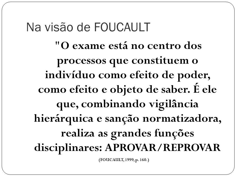Na visão de FOUCAULT O exame está no centro dos processos que constituem o indivíduo como efeito de poder, como efeito e objeto de saber.