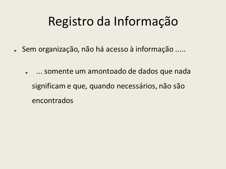 Registro da Informação Sem organização, não há acesso à informação........ somente um amontoado de dados que nada significam e que, quando necessários