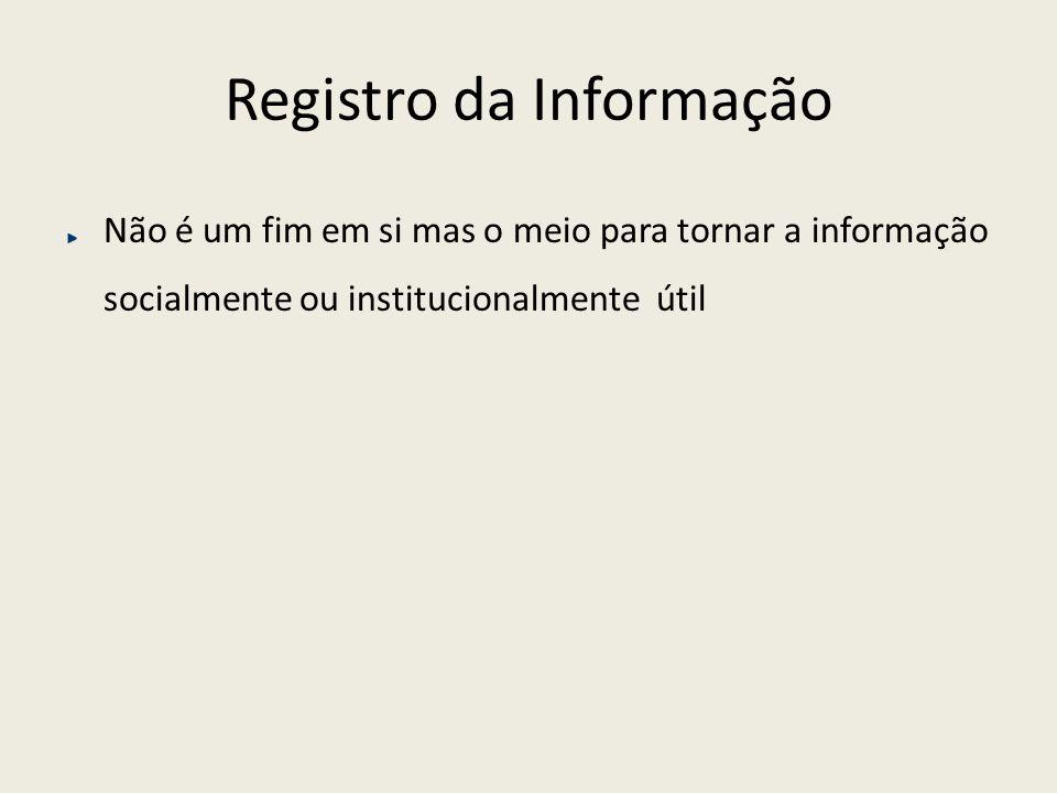 Registro da Informação Onde se organiza, socialmente ou institucionalmente, a informação .