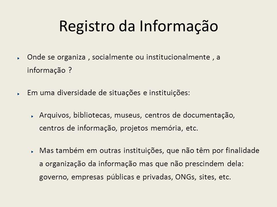 Registro da Informação Onde se organiza, socialmente ou institucionalmente, a informação ? Em uma diversidade de situações e instituições: Arquivos, b