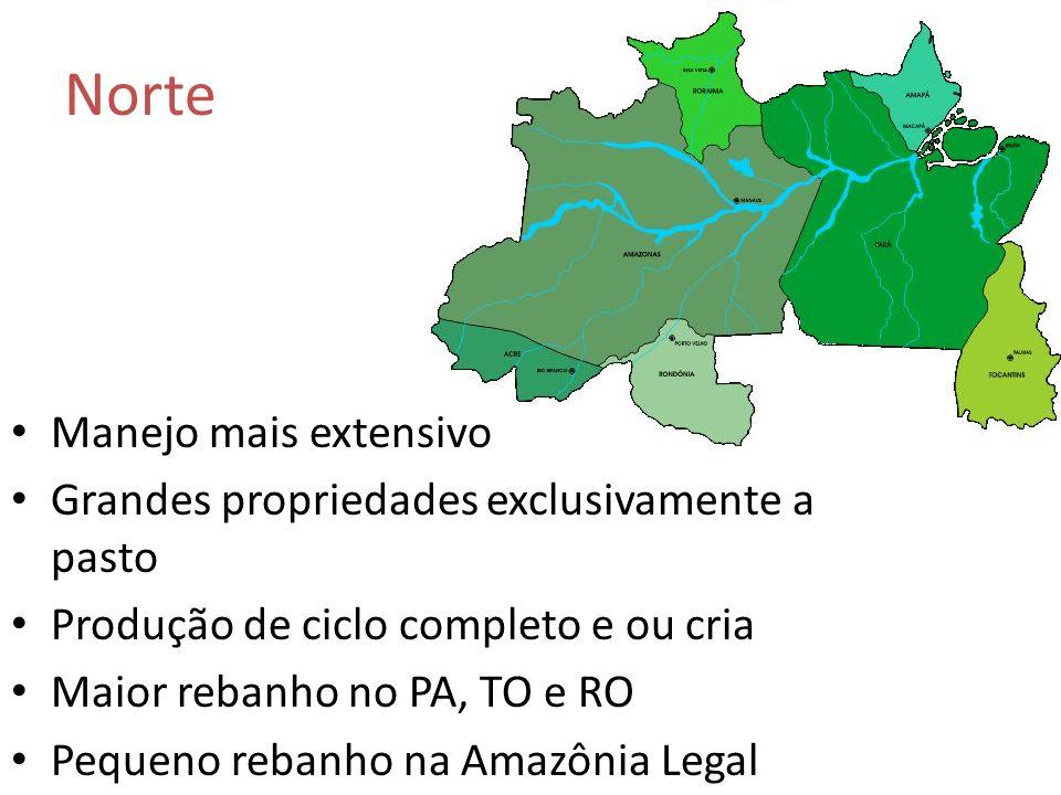 Manejo mais extensivo Grandes propriedades exclusivamente a pasto Produção de ciclo completo e ou cria Maior rebanho no PA, TO e RO Pequeno rebanho na Amazônia Legal Norte