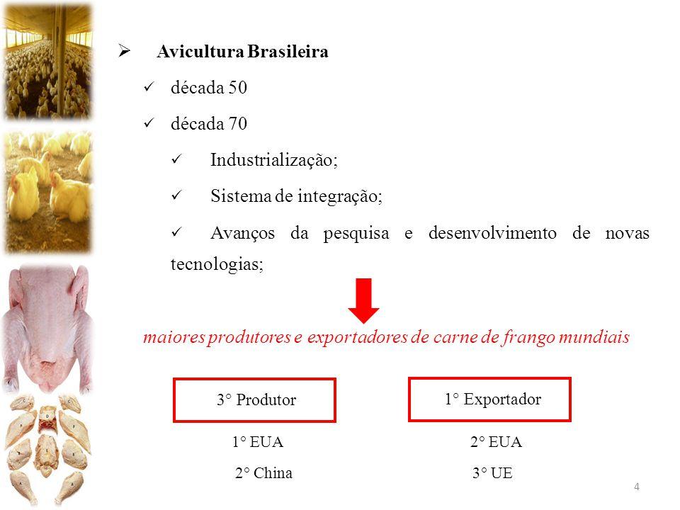  Avicultura Brasileira década 50 década 70 Industrialização; Sistema de integração; Avanços da pesquisa e desenvolvimento de novas tecnologias; maiores produtores e exportadores de carne de frango mundiais 1° EUA 2° EUA 2° China 3° UE 4 3° Produtor 1° Exportador