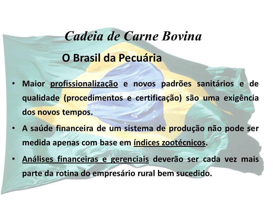 O Brasil da Pecuária Maior profissionalização e novos padrões sanitários e de qualidade (procedimentos e certificação) são uma exigência dos novos tempos.