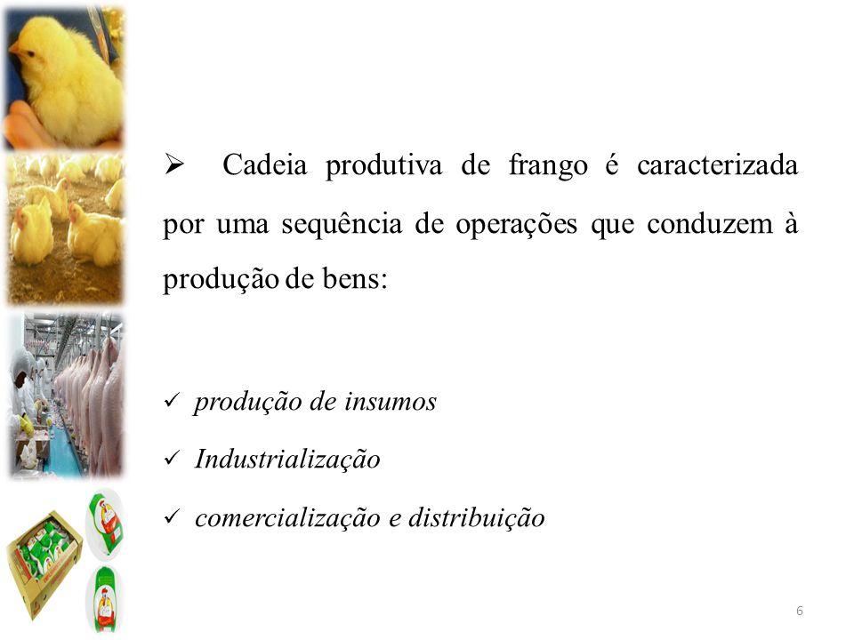  Cadeia produtiva de frango é caracterizada por uma sequência de operações que conduzem à produção de bens: produção de insumos Industrialização comercialização e distribuição 6