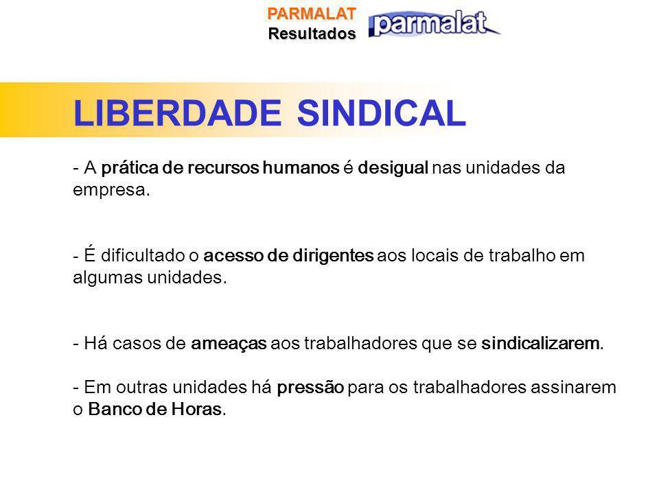 PARMALATResultados LIBERDADE SINDICAL - A prática de recursos humanos é desigual nas unidades da empresa.