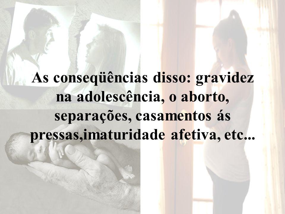 As conseqüências disso: gravidez na adolescência, o aborto, separações, casamentos ás pressas,imaturidade afetiva, etc...