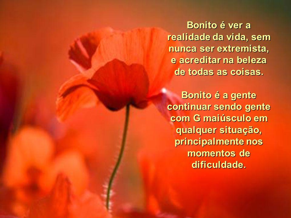 Bonito é achar a poesia do vento, das flores, do mato, dos animais e das crianças. Bonito é gostar da vida e se deixar viver de um sonho.