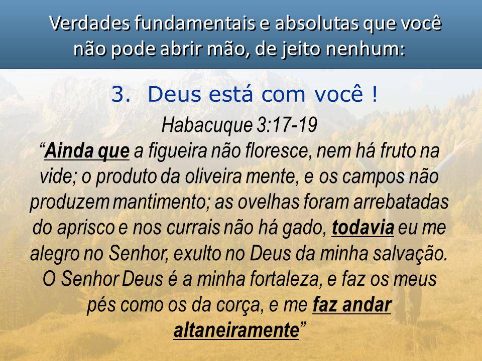 """Verdades fundamentais e absolutas que você não pode abrir mão, de jeito nenhum: 3. Deus está com você ! Habacuque 3:17-19 """" Ainda que a figueira não f"""