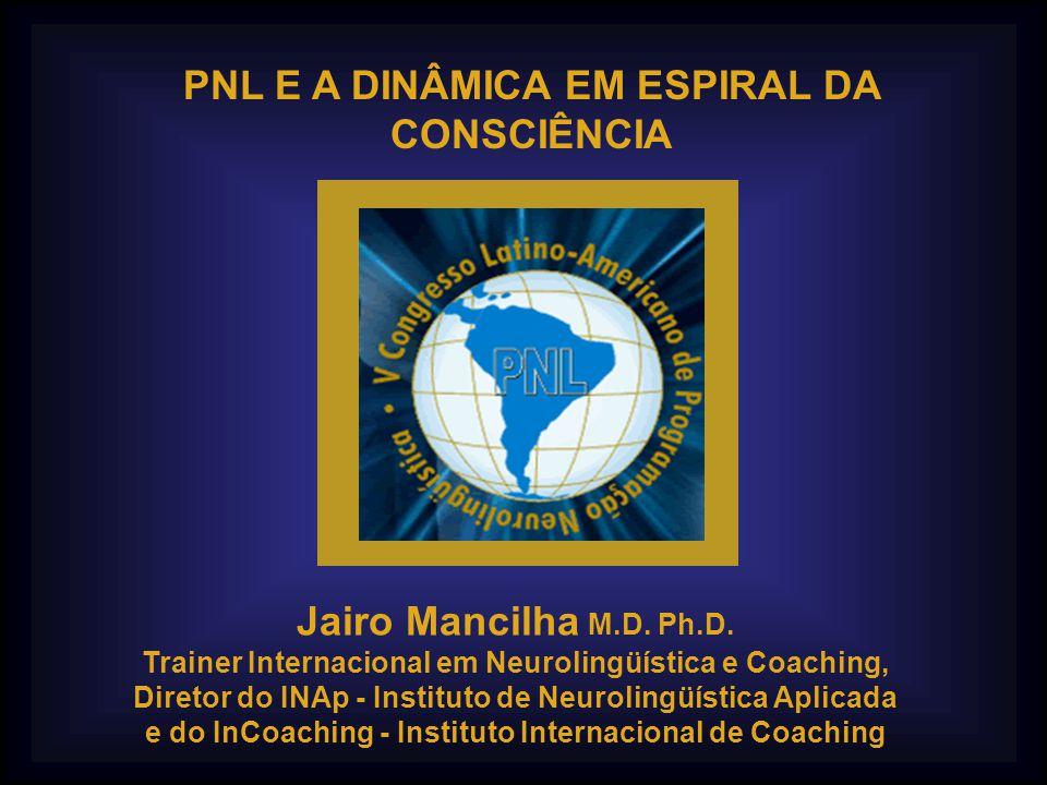 PNL E A DINÂMICA EM ESPIRAL DA CONSCIÊNCIA Jairo Mancilha M.D. Ph.D. Trainer Internacional em Neurolingüística e Coaching, Diretor do INAp - Instituto