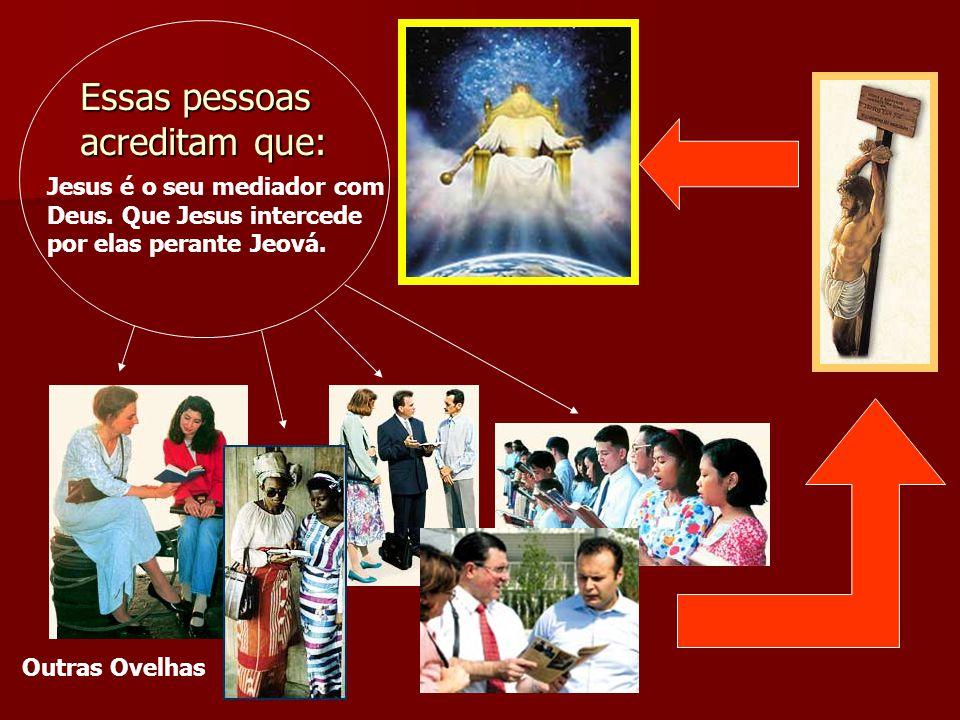 Essas pessoas acreditam que: Jesus é o seu mediador com Deus. Que Jesus intercede por elas perante Jeová. Outras Ovelhas
