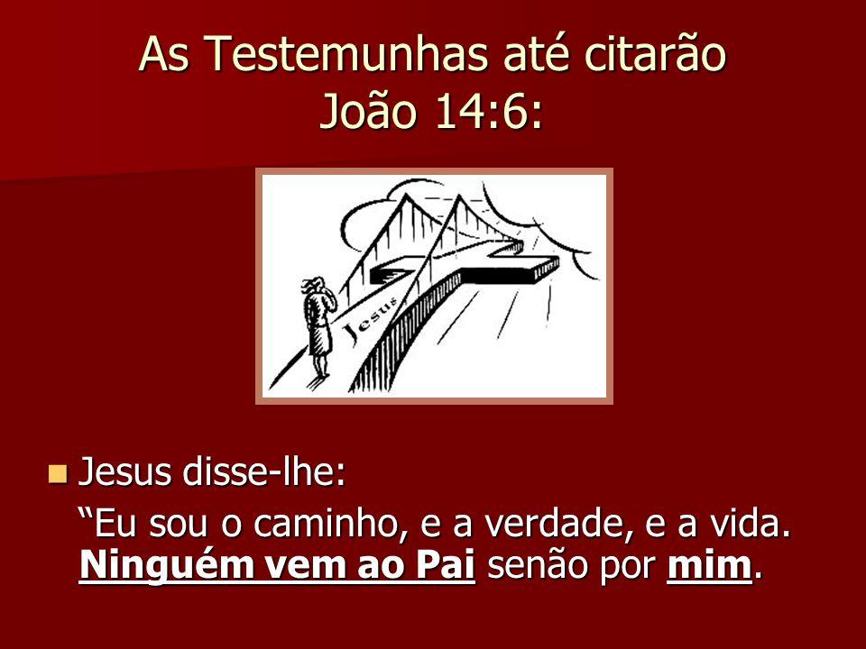 """As Testemunhas até citarão João 14:6: Jesus disse-lhe: Jesus disse-lhe: """"Eu sou o caminho, e a verdade, e a vida. Ninguém vem ao Pai senão por mim."""