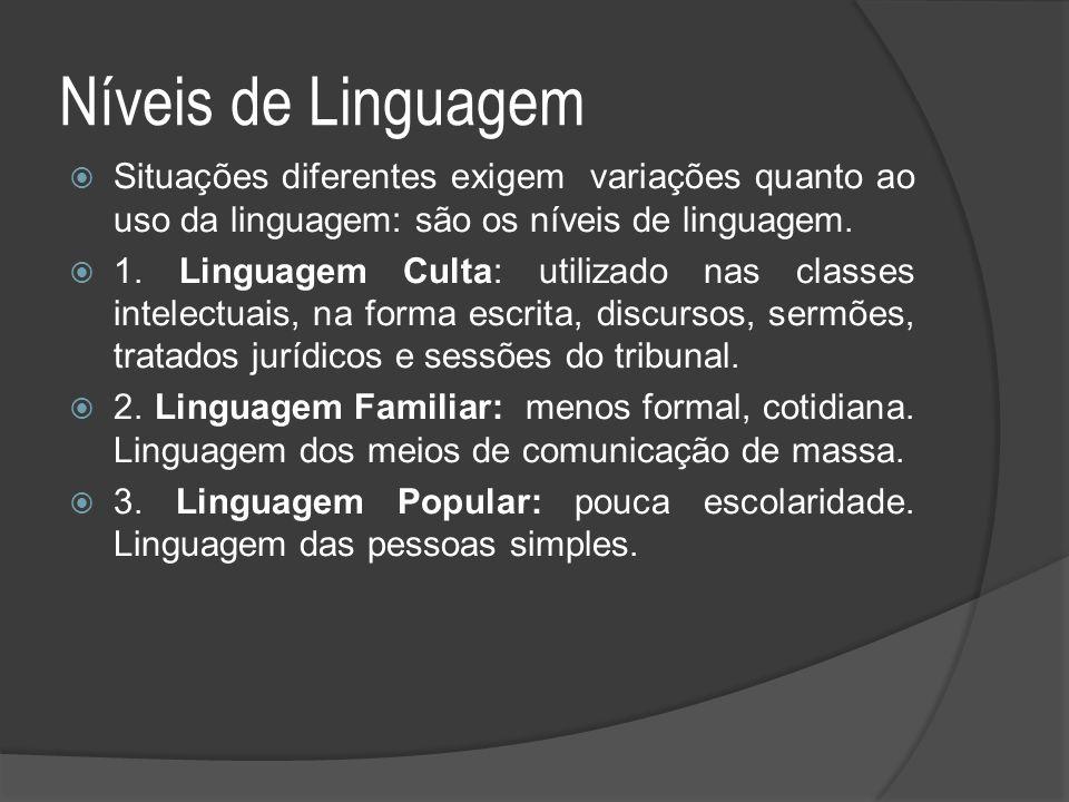 Níveis de Linguagem  Situações diferentes exigem variações quanto ao uso da linguagem: são os níveis de linguagem.  1. Linguagem Culta: utilizado na