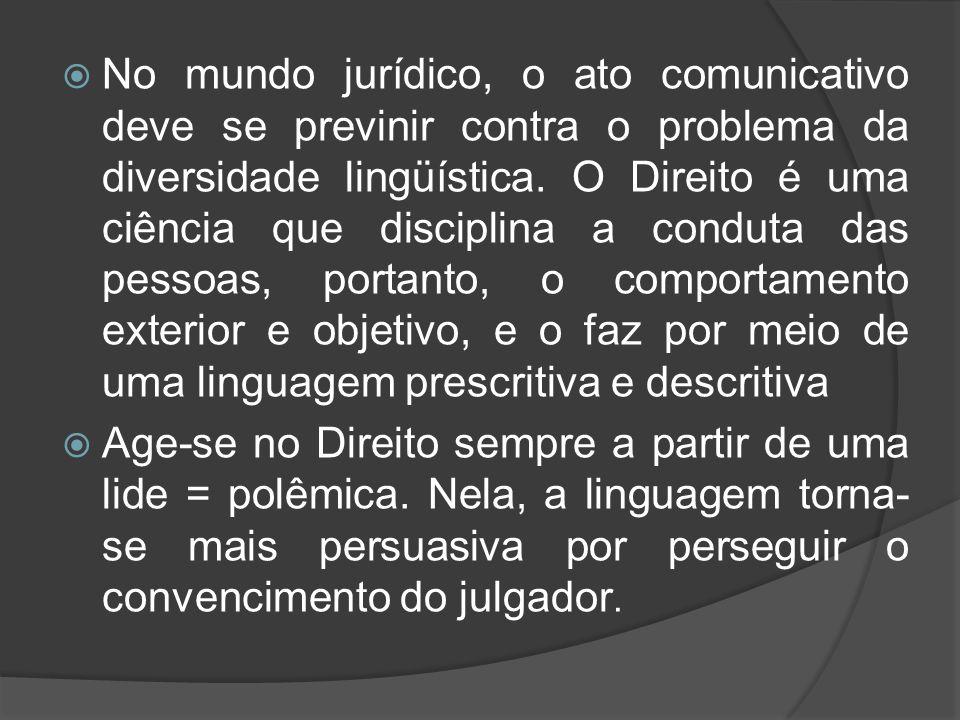  No mundo jurídico, o ato comunicativo deve se previnir contra o problema da diversidade lingüística. O Direito é uma ciência que disciplina a condut