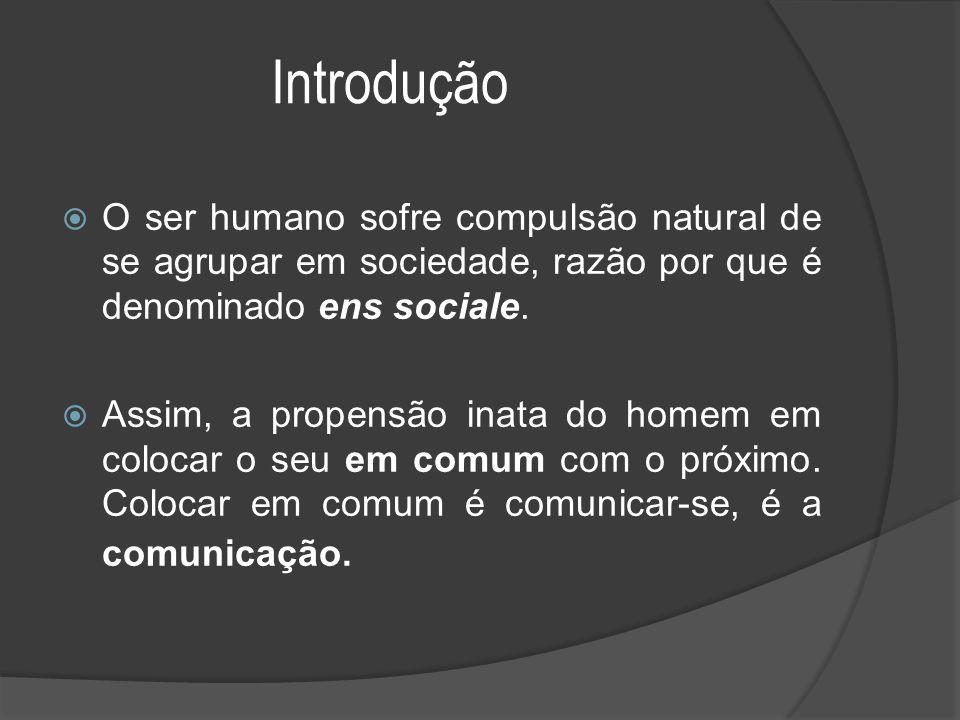 Introdução  O ser humano sofre compulsão natural de se agrupar em sociedade, razão por que é denominado ens sociale.  Assim, a propensão inata do ho