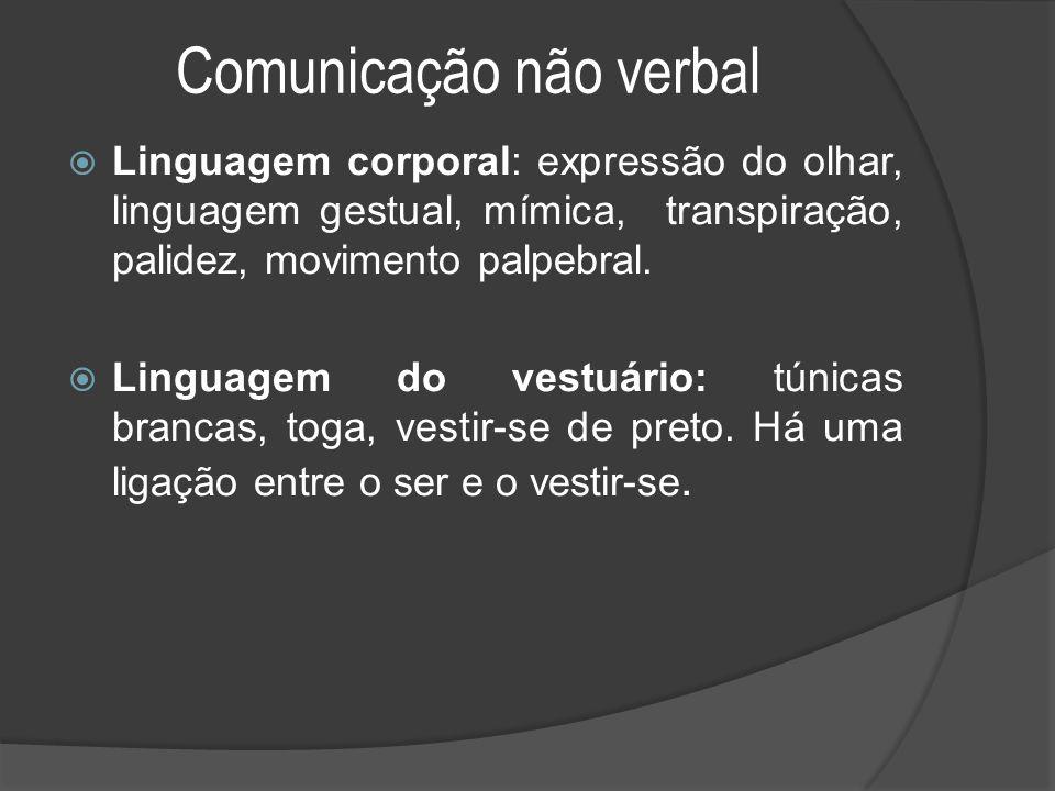 Comunicação não verbal  Linguagem corporal: expressão do olhar, linguagem gestual, mímica, transpiração, palidez, movimento palpebral.  Linguagem do