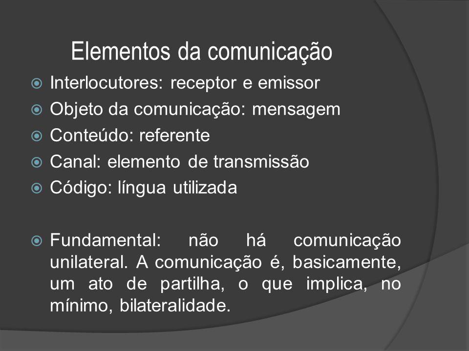 Elementos da comunicação  Interlocutores: receptor e emissor  Objeto da comunicação: mensagem  Conteúdo: referente  Canal: elemento de transmissão