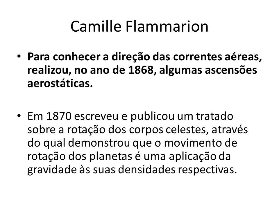 Camille Flammarion Para conhecer a direção das correntes aéreas, realizou, no ano de 1868, algumas ascensões aerostáticas. Em 1870 escreveu e publicou
