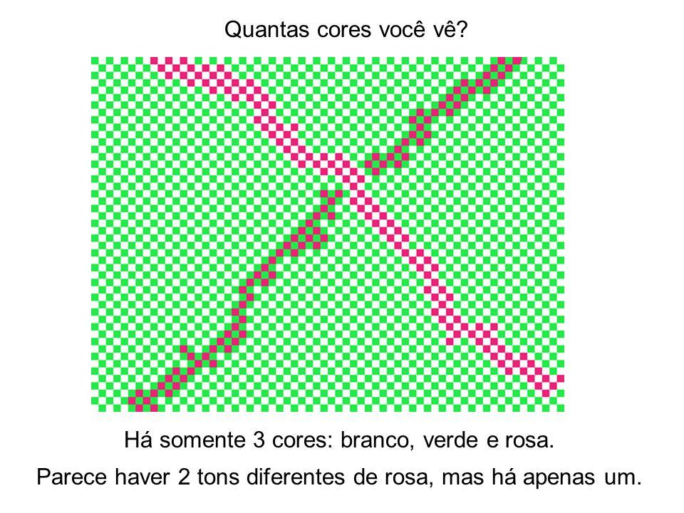 Quantas cores você vê? Há somente 3 cores: branco, verde e rosa. Parece haver 2 tons diferentes de rosa, mas há apenas um.