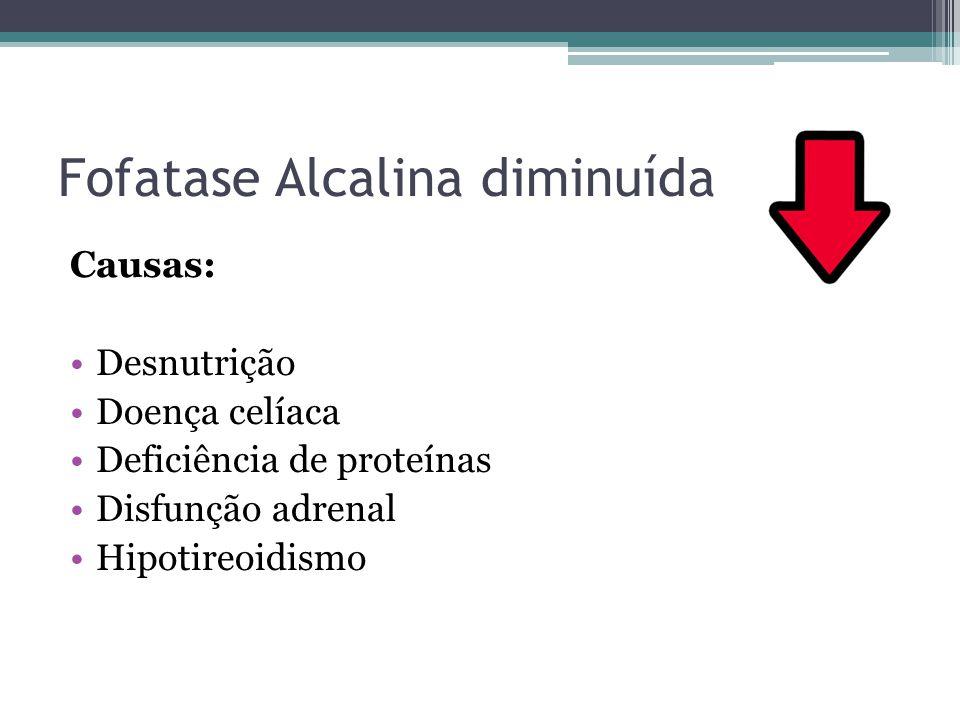 Fosfatase Alcalina elevada Causas: Colestase Câncer de cabeça de pâncreas Hepatites virais Doença de Paget (valores de 10 a 25 vezes o normal) Tumores ósseos Hiperparatireoidismo Osteomalácia Raquitismo Insuficiência renal crônica
