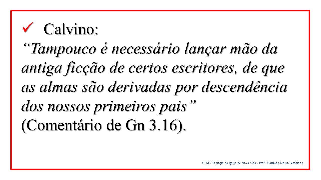 """CFM - Teologia da Igreja de Nova Vida - Prof. Martinho Lutero Semblano Calvino: Calvino: """"Tampouco é necessário lançar mão da antiga ficção de certos"""