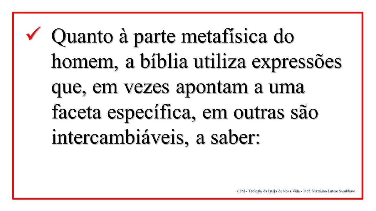 CFM - Teologia da Igreja de Nova Vida - Prof. Martinho Lutero Semblano Quanto à parte metafísica do homem, a bíblia utiliza expressões que, em vezes a