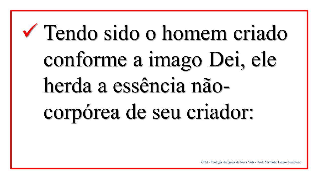CFM - Teologia da Igreja de Nova Vida - Prof. Martinho Lutero Semblano Tendo sido o homem criado conforme a imago Dei, ele herda a essência não- corpó