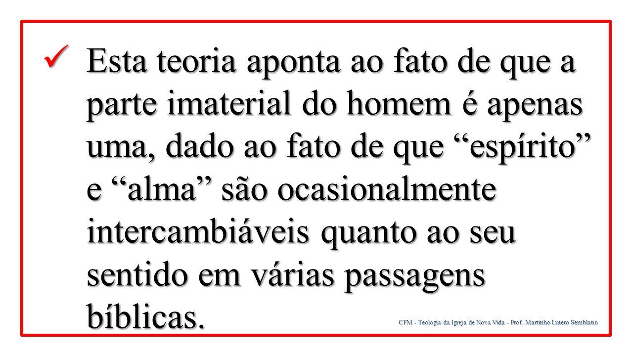 CFM - Teologia da Igreja de Nova Vida - Prof. Martinho Lutero Semblano Esta teoria aponta ao fato de que a parte imaterial do homem é apenas uma, dado