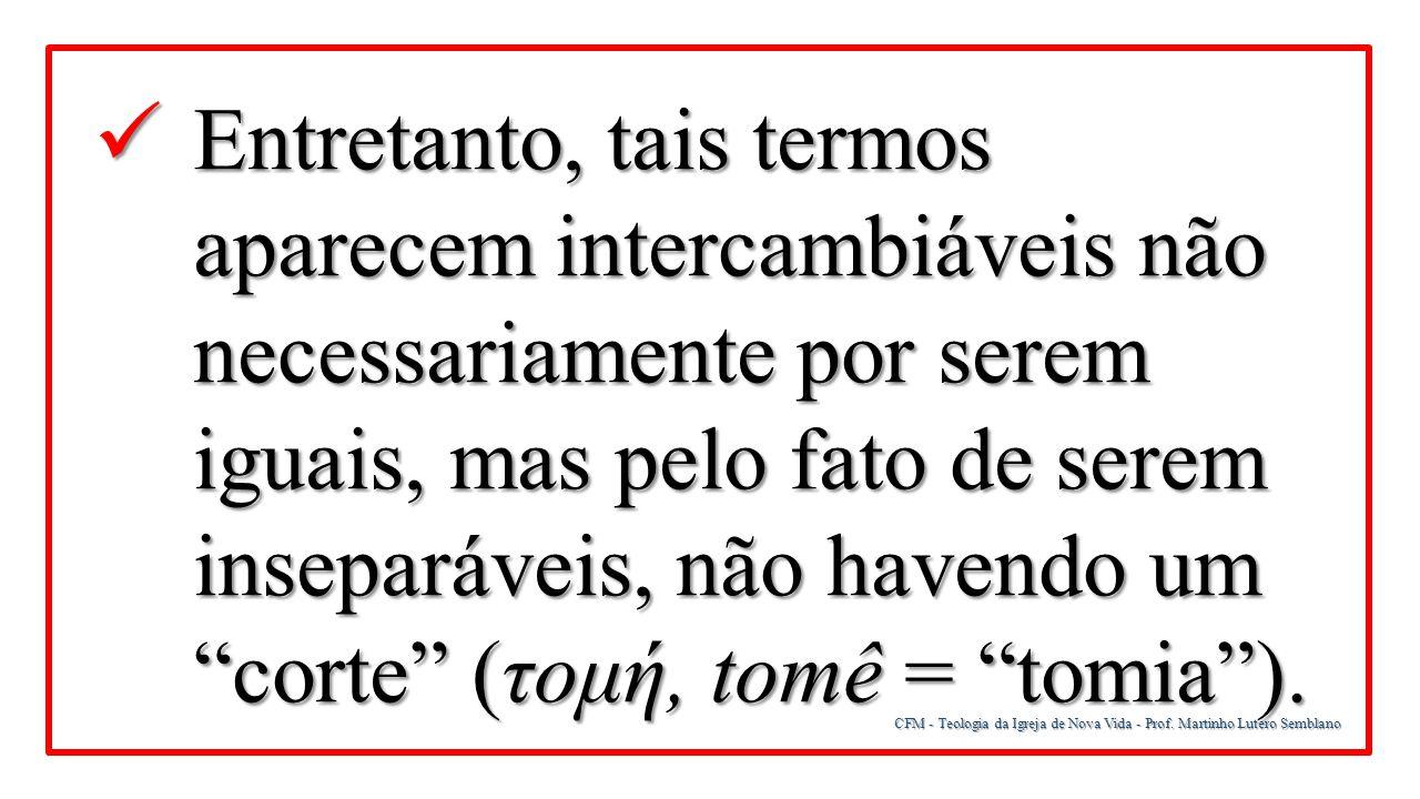 CFM - Teologia da Igreja de Nova Vida - Prof. Martinho Lutero Semblano Entretanto, tais termos aparecem intercambiáveis não necessariamente por serem