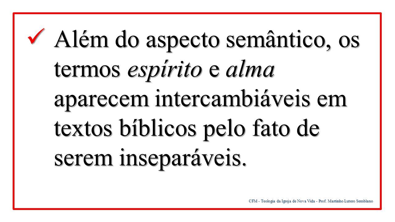 CFM - Teologia da Igreja de Nova Vida - Prof. Martinho Lutero Semblano Além do aspecto semântico, os termos espírito e alma aparecem intercambiáveis e