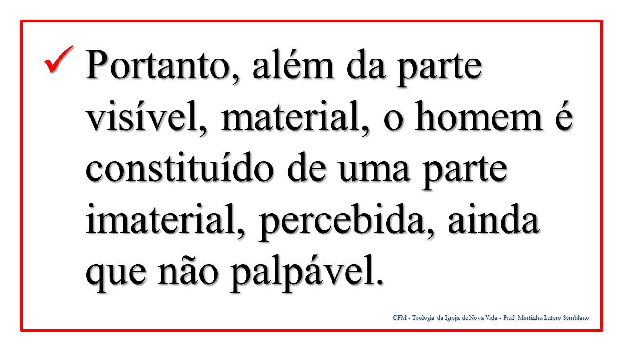 CFM - Teologia da Igreja de Nova Vida - Prof. Martinho Lutero Semblano Portanto, além da parte visível, material, o homem é constituído de uma parte i